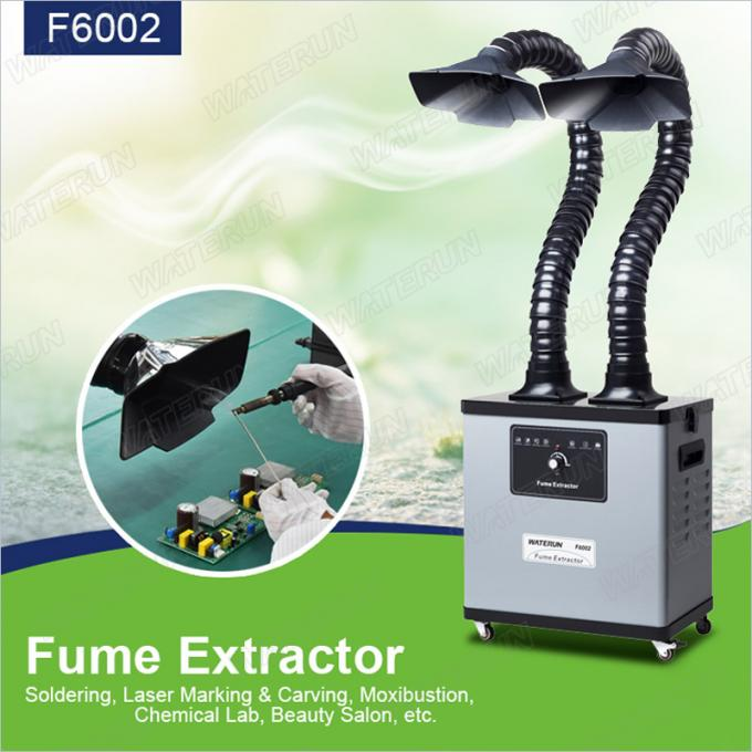 Three Layers 200W Benchtop Fume Extractor F6002, Double Arms Metal Body Machine