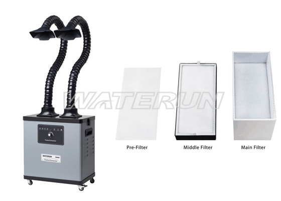 China Portable dark grey Mobile fume extractor self cleaning with 4 wheels factory