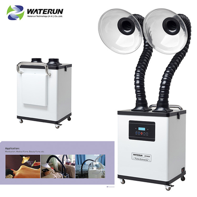 China White Digital Display Two Tubes 110v Fume Extractor For Medical Fume And Beauty Fume distributor